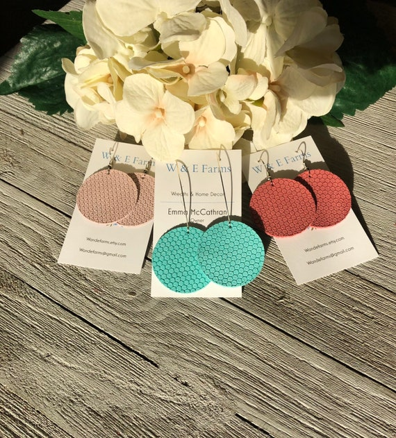 Honeycomb Leather Round Drop Earrings