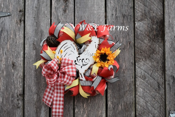 Farmhouse Rooster Wreath, Chicken Wreath, Farm Decor, Farmhouse Decor, Rooster Decor