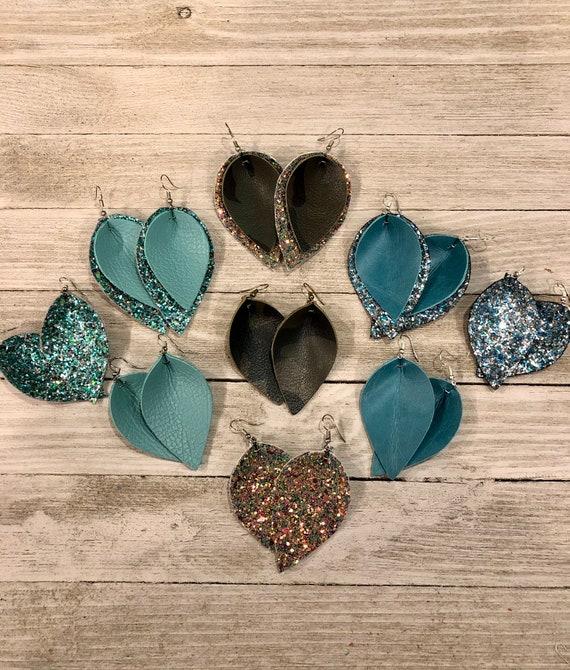 Leather & Glitter Petal Earrings, Leather teardrop earrings, Glitter Teardrop Earrings, Folded Petal Leather Earrings, Camo Leather Earrings