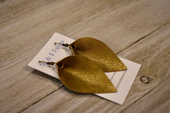 Gold Leather Folded Petal Earrings