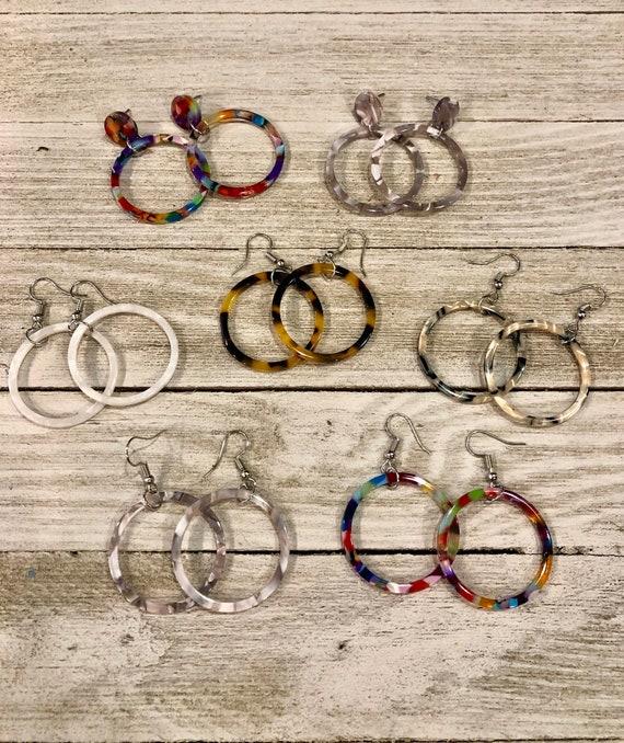 Acrylic Hoop Earrings, Tortoise Shell Hoop Earrings, Tortoise Shell Jewelry