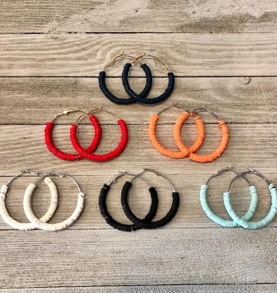 Beaded Hoop Earrings, Beaded Earrings, Hoop Earrings