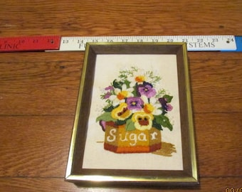 Framed Crewel Embroidery Flowers