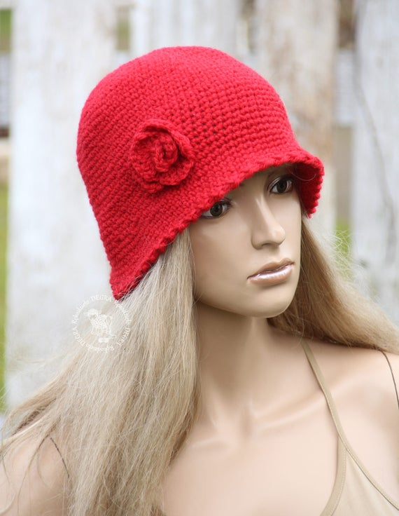 Red winter hat Fashion cloche Winter womens hat Cloche flower  6913cd30a21