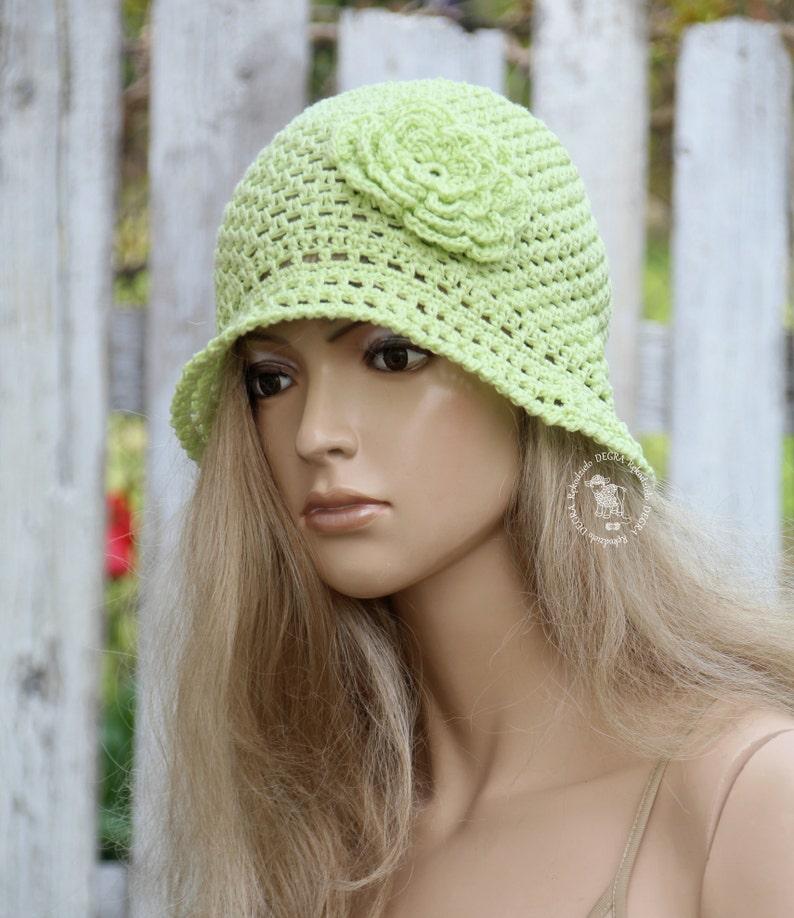 7b057b10127 Lime green hat Sun cloche Summer hat Garden Hat Crochet