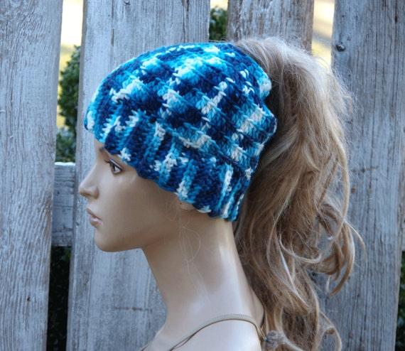 Messy bun beanie Ponytail beanie Navy blue hat Blue womens  4843dd358b11