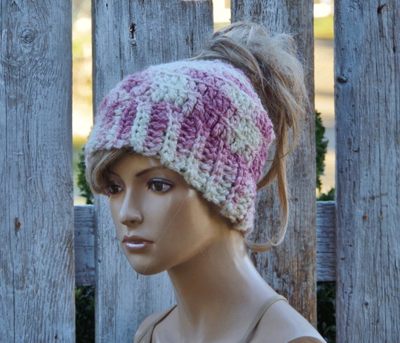Crochet Messy bun Beanie ponytail Christmas gift for her  61b64cd991d4