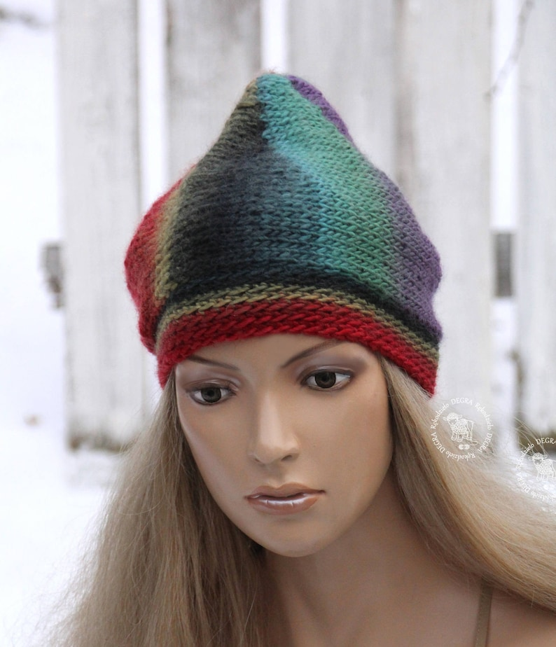 dc454bd79b7f2 Winter knit Hat Rainbow chunky beret Red beanie Women s