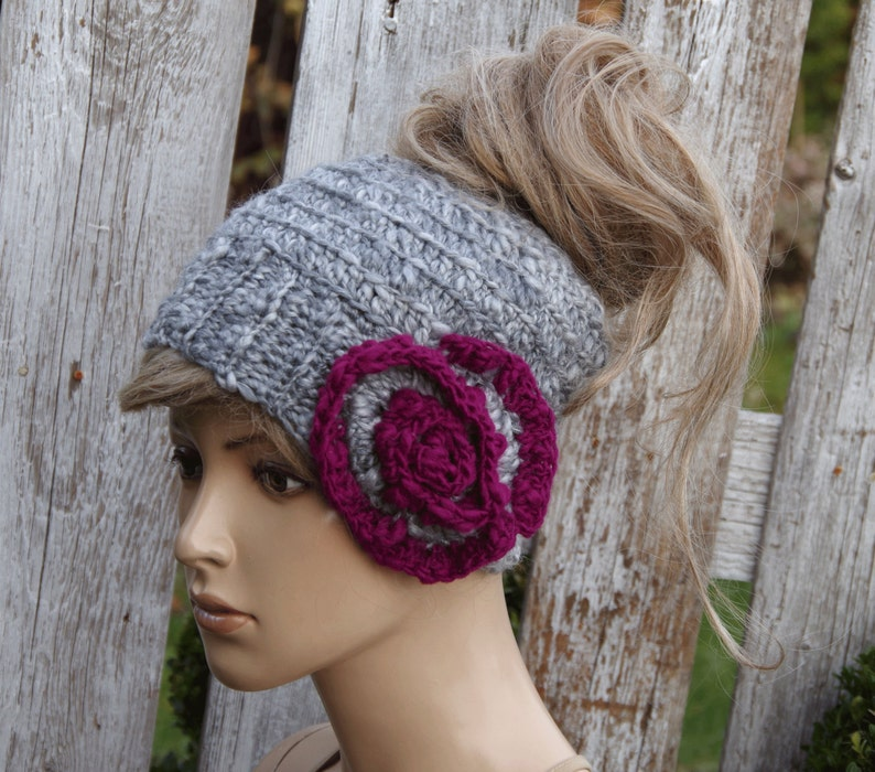 Messy bun beanie Rose Freeform crochet Women Hat Winter messy  7eb7dea605b6