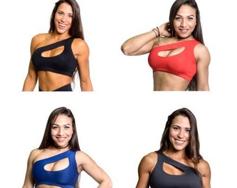 854164863707d One side shoulder too Sports Bra Womens fitness Tops Workout Fitness Top  Colors Black