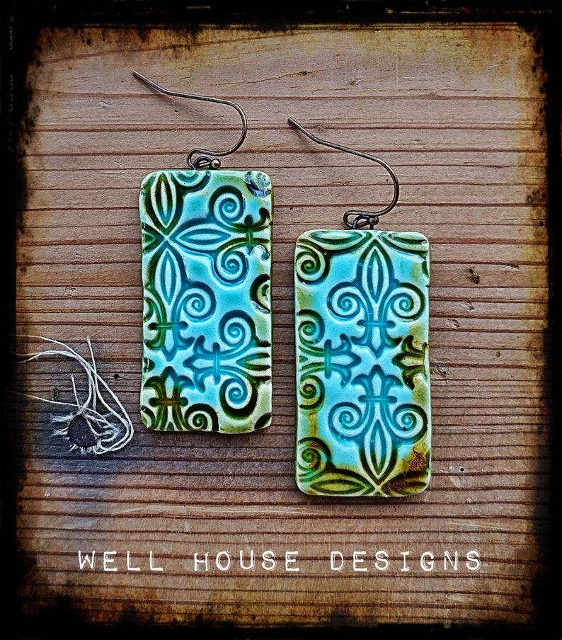 Waterfall Cross Design Rectangle earrings
