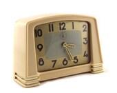 French Art Deco Bakelite Alarm Clock Antique 1930s JAZ Beige Mechanical Alarm Clock