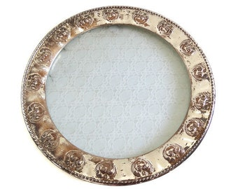 Vintage Silver and Lace Tray / Round Cup Cake Stand / Shabby Chic Romantic Tray