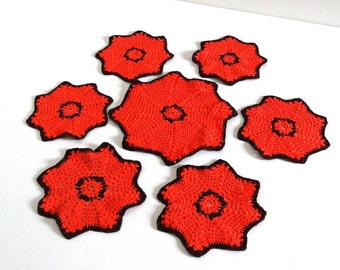 6 Retro Orange Crochet Coasters with a Bottle Coaster / Mid Century Bar or Table Decor