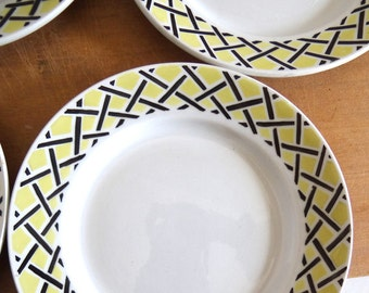 6 Yellow and Black Dessert Plates / French Vintage 50s Tableware / Retro Dinnerware