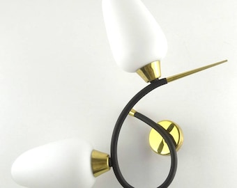Mid Century Gold and Black Tulip Sconce - Vintage 1950 Double Wall Light