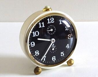 French Vintage 50s Beige, Gold and Black Alarm Clock JAZ