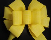 Yellow Deployment Bow, Yellow Ribbon Bow, Weatherproof, Support the Troops Burlap Bow, Outdoor Indoor Home Decor Bows, Lantern, Porch Bow