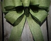 Moss Green Burlap Bows, Ole Willow Green, Olive Green, Wedding Bow, Pew Bow, Bridal Bow, Wreath Bow, Lantern Swag Bow, Large Burlap Bows