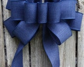 Navy Blue Burlap Bow, Blue Bows, Wreath, Wedding, Home Decor Accent Bows, Indoor Outdoor Bows, Faux Burlap Wired Ribbon Bow