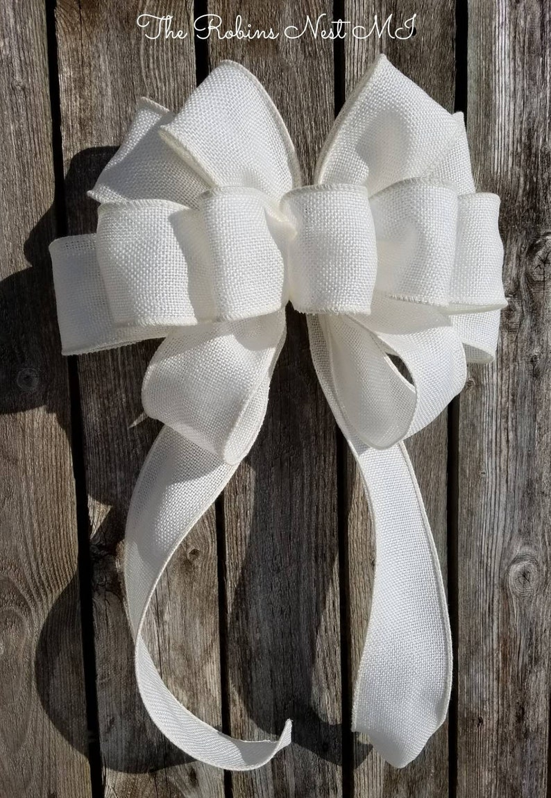 Remarkable Burlap Bow White Pew Bow Chair Bow Wreath Bow Burlap Wedding Faux Burlap Decor Large Gift Bridal Bows Lantern Swag Bows Mothers Ncnpc Chair Design For Home Ncnpcorg