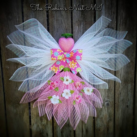 Angel Wreath Cemetery Angels Front Door Decor Angel Gift Angel Wreaths Front Door Decor Pink Heart Flower Angel White Whimsical Wings