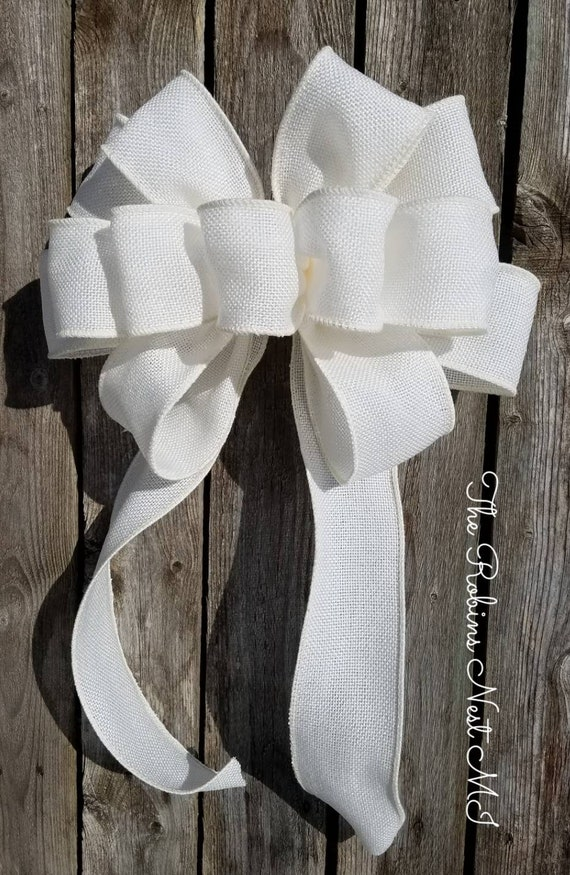 Excellent Burlap Bow White Pew Bow Chair Bow Wreath Bow Burlap Wedding Faux Burlap Decor Large Gift Bridal Bows Lantern Swag Bows Mothers Ncnpc Chair Design For Home Ncnpcorg