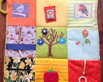 """24"""" Activity Fidget Quilt - 'Spring is in the Air'   - helpful for persons with dementia or Alzheimer's. Twiddle Blanket - Busy Blanket -"""