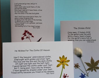 3 Hand pressed Irish wild flower cards featuring the poems of W.B.Yeats - The Cloths of Heaven - Lake Isle of Innisfree - The Stolen Child.