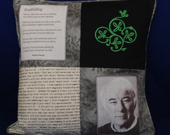 """Seamus Heaney ~ Scaffolding ~ 14"""" cushion with poem and Celtic embroidery panel. ~  Literary Ireland ~ Unique thought provoking gift ~"""