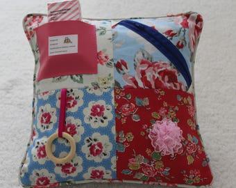 Fidget Cushion ~ 'All about Roses' ~  Sensory Activity Pillow ~ Dementia Twiddle Cushion ~ Alzheimer Gift ~ Busy Cushion ~
