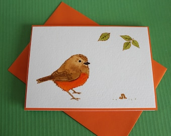 Watercolor Greeting cards with robins. Each card individually made,this is not a print ~ Best Wishes Cards with robins.