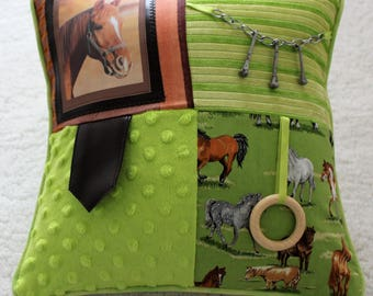 Fidget Cushion with Horse ~ Sensory Activity Pillow ~ Dementia Twiddle Cushion ~ Alzheimer Gift ~ Busy Cushion ~ 'Remembering Horses'