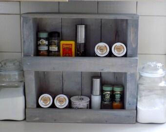 Aged grey Spice rack
