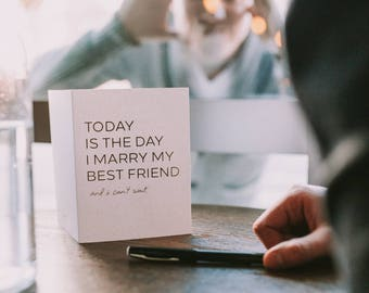 Wedding Day Card | Card to New Wife | Card to New Husband | Today I Marry My Best Friend | Wedding Card | Card to Fiancé