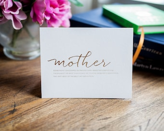 Greeting Card - Mothers Day, Gold Foil Card, Mom's Card, Gold Foil Mother's Day, Card for Mom, Just Because