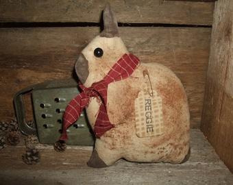 Primitive Little Netherland Dwarf Rabbit Bunny REGGIE folk art tuck ornie, OFG HAFAIR Teams