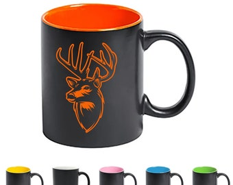 """Cup """"Deer"""" - Personalized - Laser Engraving - Ceramic Cup - Desired Name - Color Choice"""