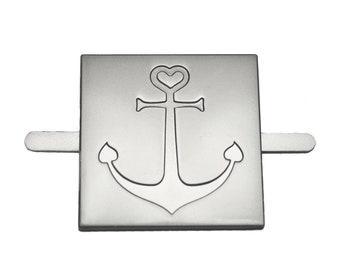 "Metal label ""Anchor"" 3x3 - silver matt - EP"