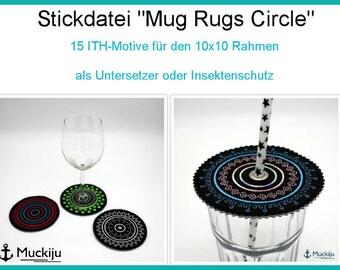 "ITH embroidery file Set ""Circle Mug Rugs"" 10x10"