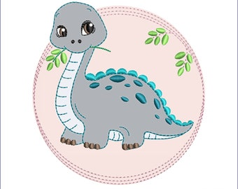 """Embroidery File 13x18 """"Dino Button"""" Doodle Application"""
