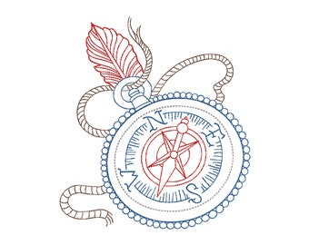 """Embroidery file 13x18 """"Redwork Compass with spring"""""""