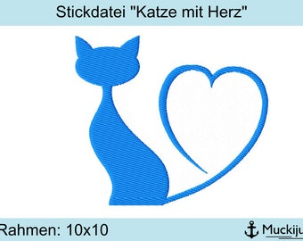 "Embroidery file 10x10 ""Cat with Heart"""