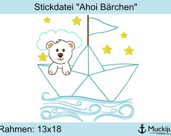 "Embroidery file 13x18 ""Ahoy bears"""