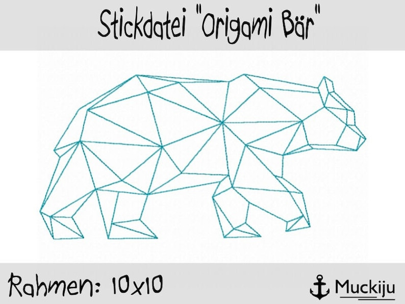 Incredible Embroidery File Origami Bear 10X10 Etsy Wiring 101 Olytiaxxcnl