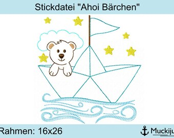 "Embroidery file 16x26 ""Ahoy bears"""