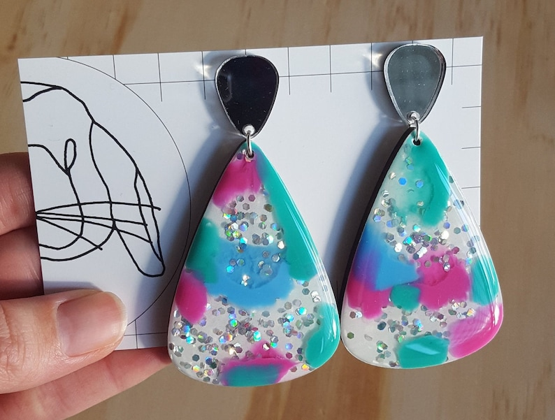 Handmade Resin Large Dangle Teardrop Earrings image 0