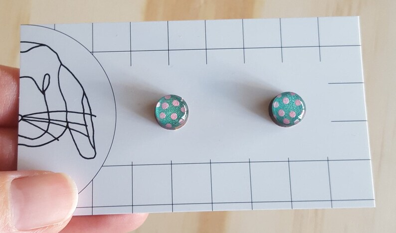 Handpainted Resin Stud Earrings  Small image 0