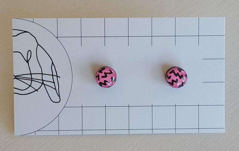 Handpainted Resin Stud Earrings  Small image 0