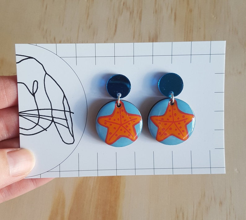 Handpainted Resin Circle Dangle Drop Earrings image 0
